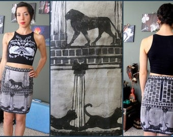 Hand- Painted pencil skirt : Lions, Cats and Block Pattern