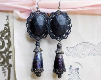25 DOLLAR SALE - Rustic Beaded Earrings - Black Cabochons, Purple Lampwork Teardrops - Dark Painted Gothic Earrings - Assemblage Earrings