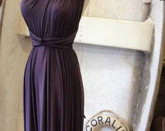 Last of Fabric- Vintage Titanic Plum Satin Jersey Long Maxi-  Octopus Convertible Infinity Wrap Dress- Prom, FOomal, Wedding Guest.
