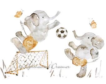 Elephant Print, Custom Name, Boy Nursery Print, Elephant Nursery, Soccer Nursery, Personalized, Custom Baby Gift, Sports Nursery Decor