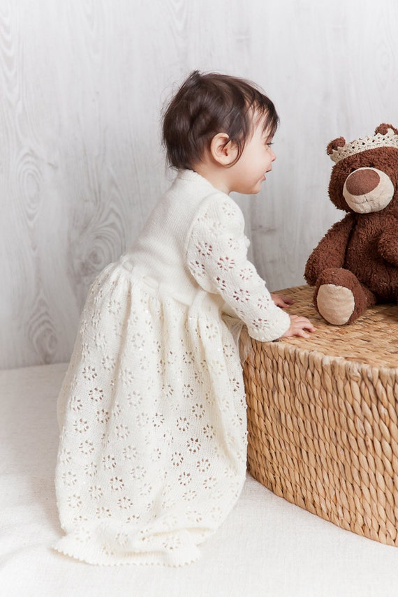 Baptism Dress Knit Baby Girl Long White Dress Flower By