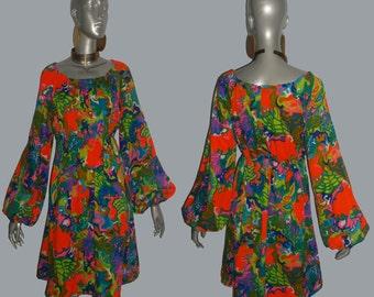 Vintage Multicolor Vibrant Bold Psychedelic Polynesian Print Long Raglan Poet Sleeve Short Mini Smock Elastic Waist Dress