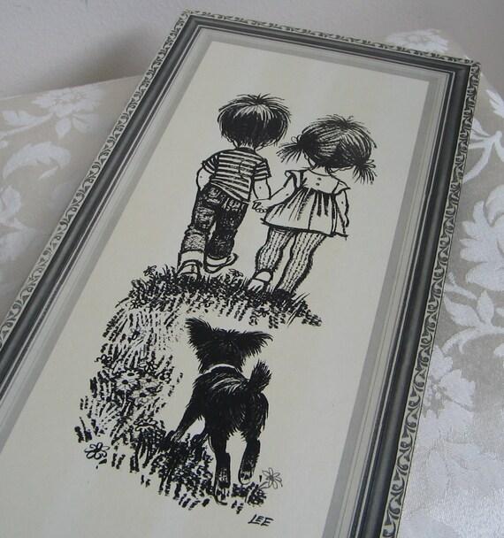 Black Flower Watercolor Art By Tae Lee: Vintage Big Eyed Kids Lee Mod Children Boy Girl Black Dog Wall