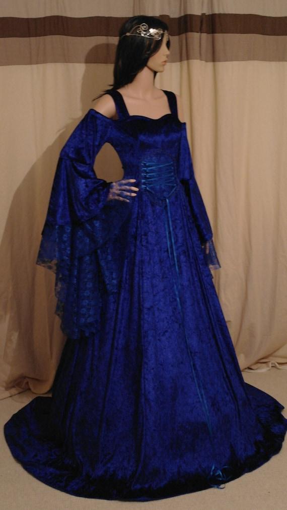 Items similar to royal blue medieval handfasting fantasy for Blue irish wedding dress