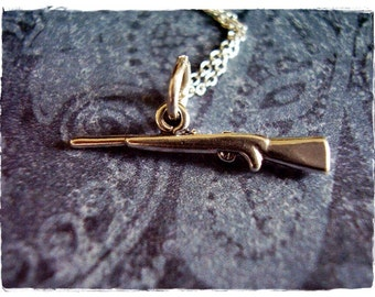 Tiny Rifle Necklace - Sterling Silver Rifle Charm on a Delicate Sterling Silver Cable Chain or Charm Only