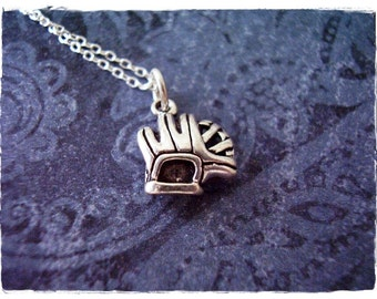 Silver Baseball Glove Necklace - Sterling Silver Baseball Glove Charm on a Delicate Sterling Silver Cable Chain or Charm Only