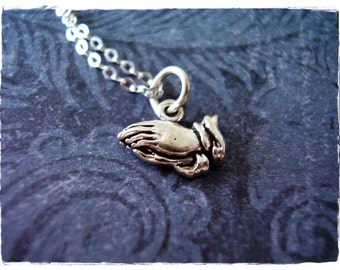 Tiny Praying Necklace - Sterling Silver Praying Hands Charm on a Delicate 18 Inch Sterling Silver Cable Chain