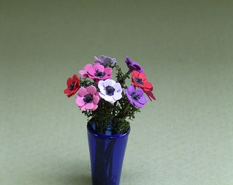 Anenome Paper Flower kit for 1/12th scale Dollhouses, Florists and Miniature Gardens