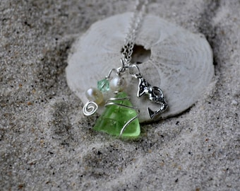 Seaglass and Mermaid Necklace - Seafoam Green Seaglass - Sterling Silver