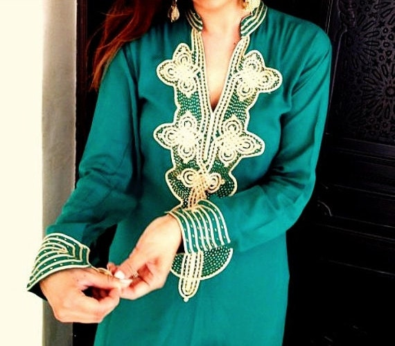 Kaftan Emerald Green Caftan Wedding- Aisha Style- for brides gifts, bridesmaids gifts, beach weddings, honeymoon caftans, Valentines day