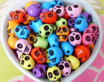 60x Acrylic Skull Beads 12mm by 11mm Bright Shiny Glossy Colours .. Halloween and Day of the Dead