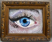 Original Tiny Art by Amanda Christine Fantasy Eye Surreal Lowbrow 4x3 inches