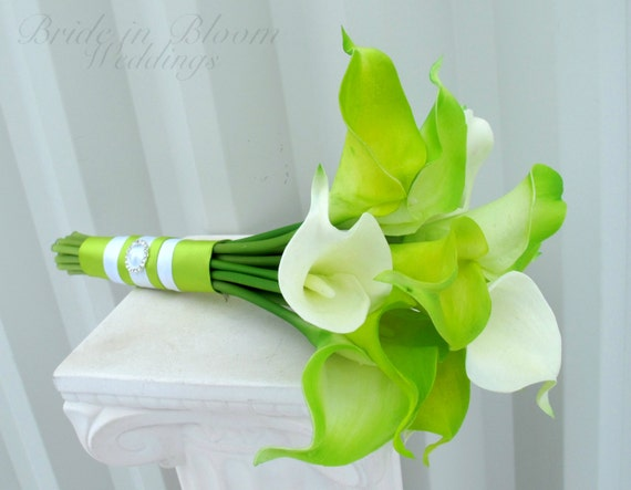 Bridesmaid bouquet Lime green real touch calla lily Wedding bouquet