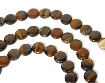 Jupiter Jasper beads, 12mm coin natural gemstone bead, 8 inch strand (962S)