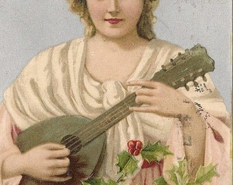 Early Victorian Christmas Postcard Blond Girl in Pink Gown with Lute  - Holly 1906