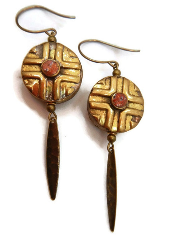 Tribal Tibetan Red Coral Earrings