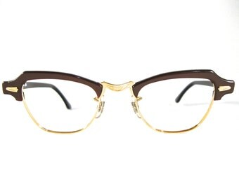 SALE horn rimmed combo eyeglasses frames. brown pearlized plastic/copper. no lenses new old stock/NOS/deadstock. Shuron 42-20 l
