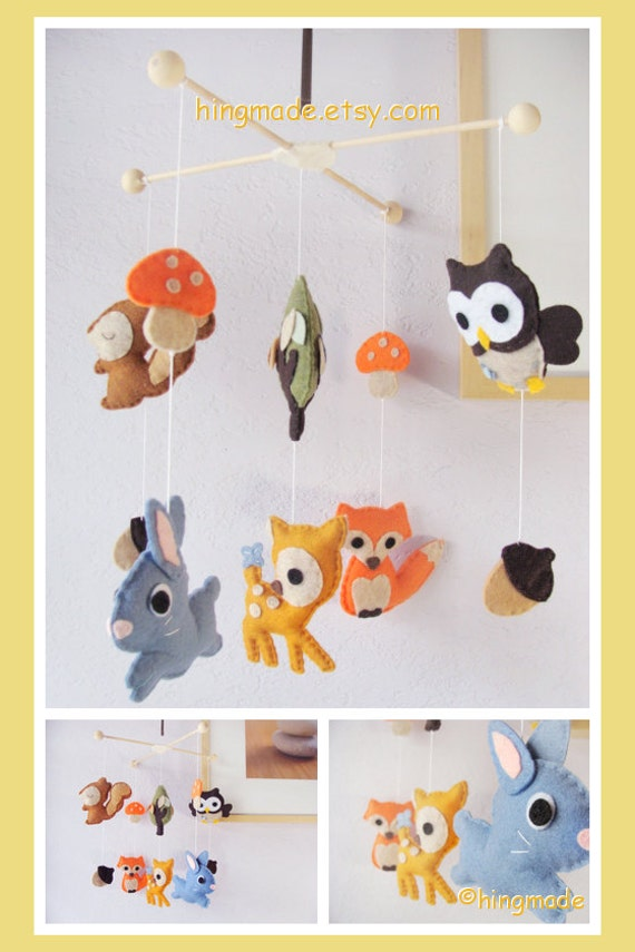 Baby Mobile Woodland Friends Mobile Bunny Fox Deer By Hingmade