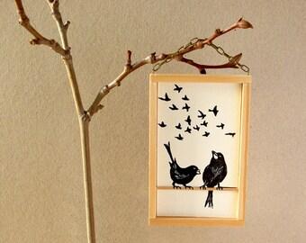 Birds linocut print - original art work - housewarming gift - wedding gift