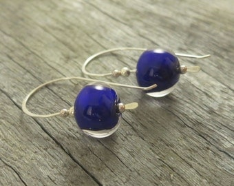 Navy Blue Drop Earrings, Gifts for women, Blue Earrings, FREE Shipping, Artisan Glass Earrings, Australian Jewellery, Blue Jewellery