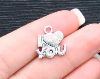 10 I Love You Charms Antique  Silver Tone - SC803