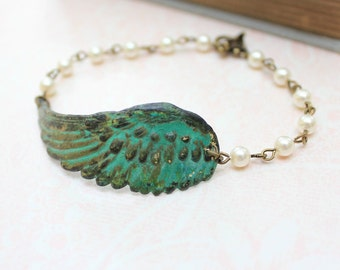 Wing Bracelet Verdigris Patina Wing  Ivory Cream Pearl Beaded Bracelet Feather Green Teal Angel Bird Woodland Jewellery Beaded Bracelet