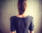 soot grey linen dress with peter pan collar- made to measure