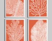 Coral Ocean Beach Sea Prints Pantone Koi Orange Custom Colors set of 4