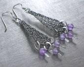 Amethyst Dangle Earrings, Oxidized Sterling Silver Wire Crochet Earrings, February Birthstone