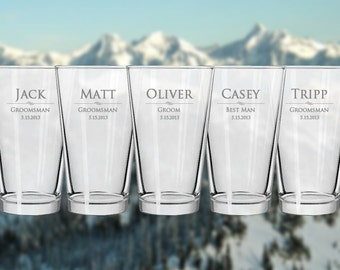 Custom Engraved Pint Glasses - Perfect Gift for Him! - Any Quantity - Personalized Beer Glass
