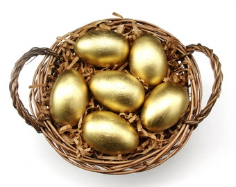 Large Golden Eggs Wooden Waldorf Easter Eggs in Bag