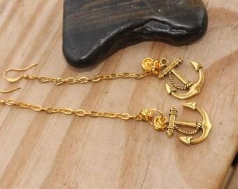 Anchor Earrings , Golden Rain Dangle Nautical Anchor ,Adults, Teens By: Tranquilityy