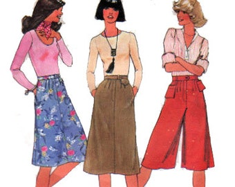 "Culottes Sewing Pattern Pantskirt and Skirt Pattern Front Pleats Waistband Bag 70s Size 14 Waist 28"" (71 cm) - Simplicity 7399"