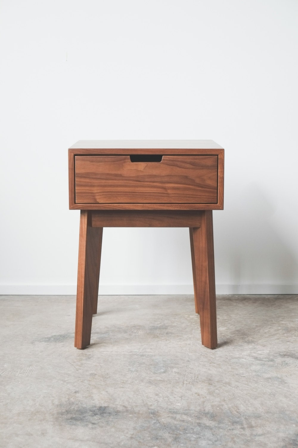 Ventura nightstand bedside table solid walnut tapered for Bedroom table chairs