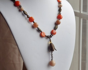 Necklace, orange and brass, sunstone, natural stone, bohemian style, flower jewelry, womens fashion, gift for her, summer necklace, birthday