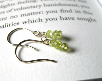 Tiny Peridot Dangle Earrings - Sterling Silver / Delicate Simple Minimalist Jewelry, Sparkly Glow August Birthstone