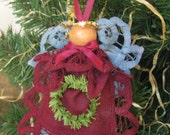 Rustic Angel Ornament, Cranberry Blue Doily Angel, Battenburg Lace Angel, Christmas Angel, Doily Angel, Angel Ornament, Blue Christmas Decor