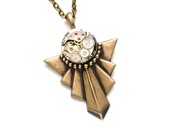 Steampunk Necklace ART DECO Steampunk Jewelry Vintage Style Necklace Antique Brass Victorian Steampunk Jewelry by Victorian Curiosities