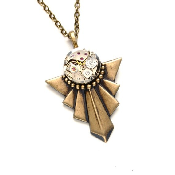 Is Steampunk Jewelry A Craft Or An Art: Steampunk Necklace ART DECO Steampunk Jewelry Vintage Style