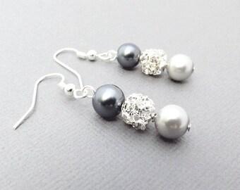 Black Grey Pearl Earrings, Bling Bridesmaid Earrings, Pearl Drop Earrings, Bridesmaid Jewelry, Pearl Wedding Jewelry