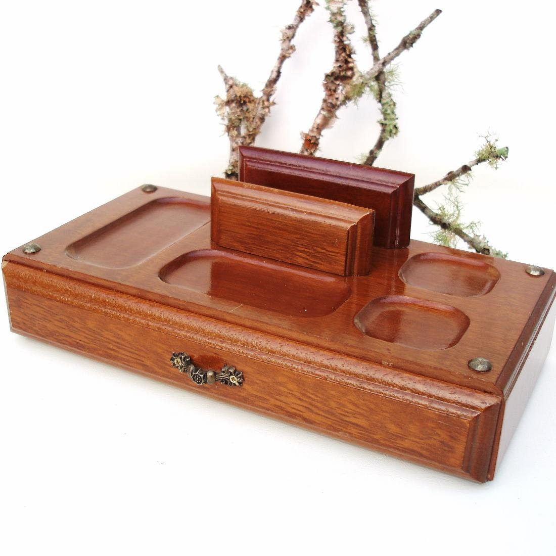 Vintage Mens Valet Wooden Dresser Tray Wood Box By Whimzythyme