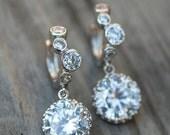 Bridal jewelry drop earrings vintage earrings Cubic Zirconia Wedding jewelry dangle earring estate style bridal earrings sterling silver