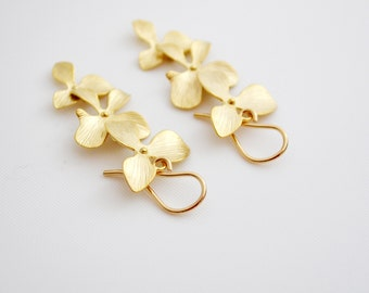 Gold Plated Orchid Earrings, 14K Gold Filled French Hoops, Cascading Flower Earrings, Wedding Jewelry Gift Under 25