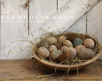 Primitive E-pattern Farmhouse Eggs Easter Instant Download PDF Pattern by Walnut Ridge Primitives