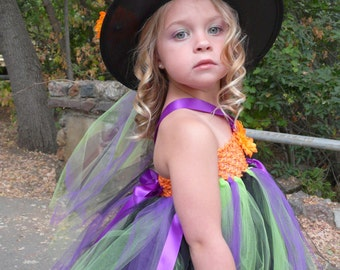 Child Witch Costume Tutu Dress with Witch Hat, Halloween Costume, Toddler Halloween Costume, Toddler Witch Costume