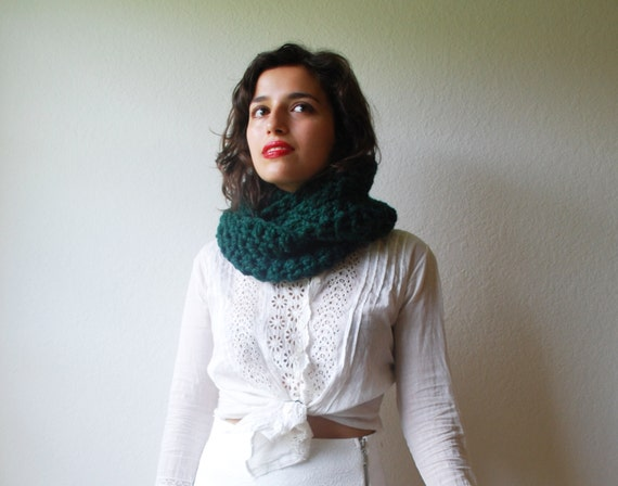 The Beginners Cowl Hand Knit in Emerald Wool Blend