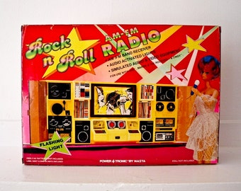 Barbie Cindy Radio Audio Console System Rock n Roll In Box Pulsating AM FM 1986 Turntable Tape Audio Speakers