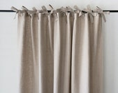 Linen curtains Custom color Ties top curtain panel Blackout lining option