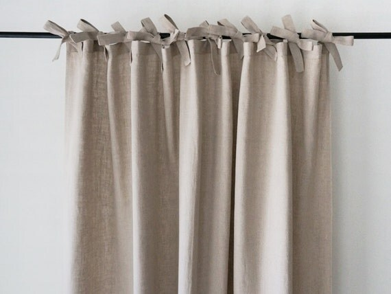 Linen Curtains Custom Color Ties Top Curtain By Lovelyhomeidea
