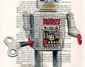 Posters Illustration Giclee Prints Mixed Media Portrait Drawing Art Acrylic Painting Holiday Decor Gifts: Robot - 4 x